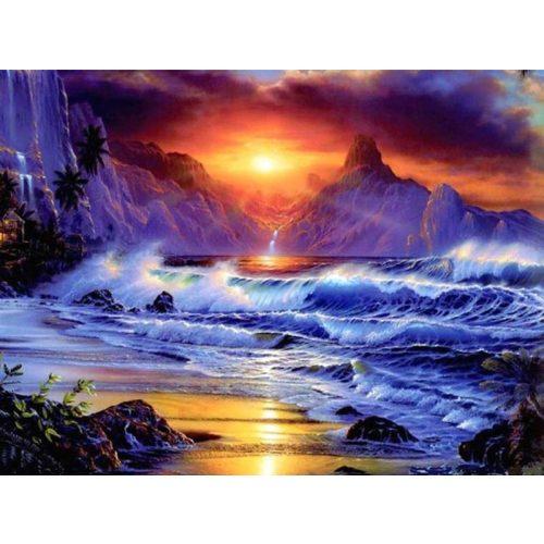 Viharos naplemente nagy méretű kör alakú kreatív gyémánt kirakó
