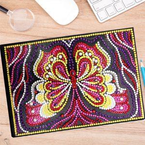 50 oldalas sima pillangós jegyzetfüzet gyémántszemes kirakó