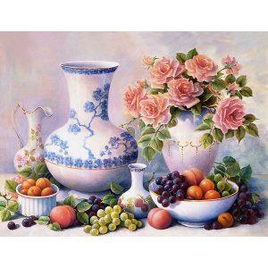 Asztal kép vázával virágokkal kör alakú gyémánt kirakó