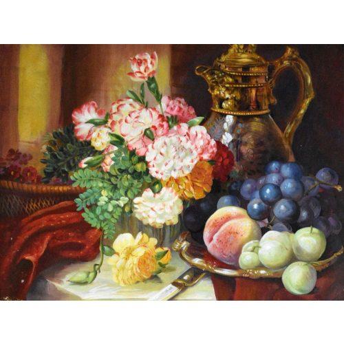 Asztal gyümölcsökkel, virággal kör alakú gyémánt kirakó