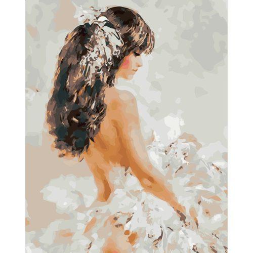 Barna hajú nő kör alakú kreatív gyémánt kirakó