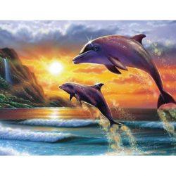 Delfinek Kör alakú Gyémántszemes kirakó 30x40