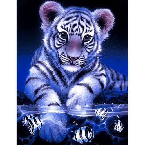 Kis tigris Kör alakú Gyémántszemes kirakó 30x40