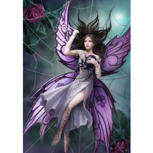 Pillangó nő pókhálóban kör alakú kreatív gyémánt kirakó