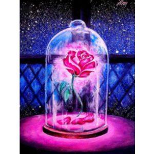 Rózsa búrában kör alakú kreatív gyémánt kirakó
