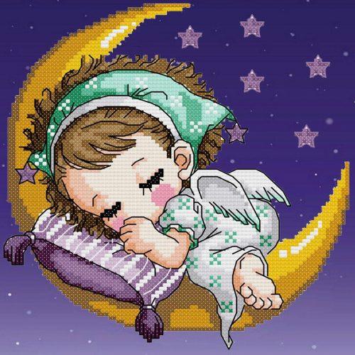 Holdon alvó mesefigura kör alakú kreatív gyémánt kirakó