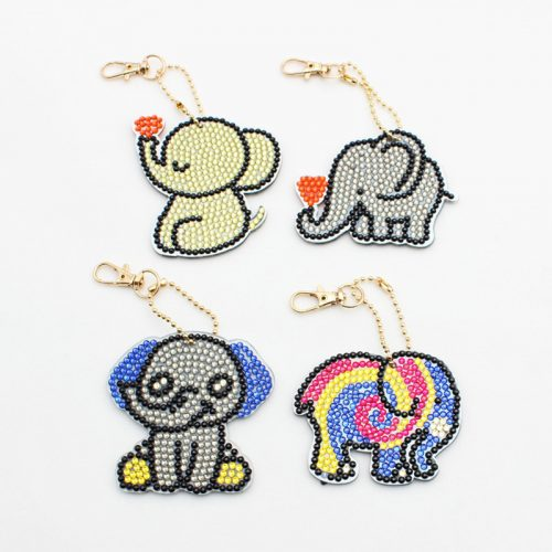 Kis elefánt gyémántszemes kirakó kulcstartók