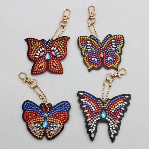Pillangós gyémántszemes kirakó kulcstartók
