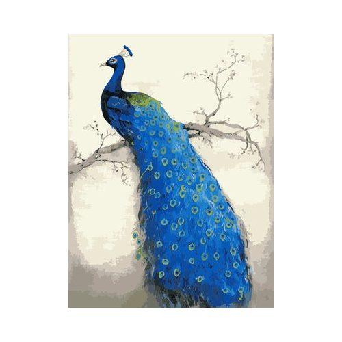 Kék páva faágon négyzet alakú kreatív gyémánt kirakó