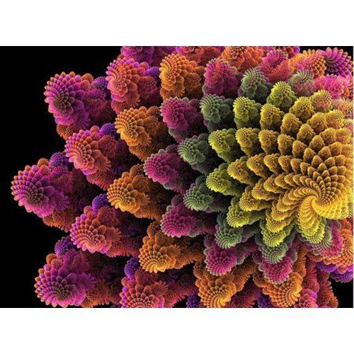 Színes virág spirál négyzet alakú kreatív gyémánt kirakó