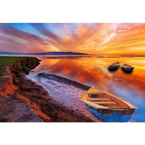 Tengerparti naplemente csónakokkal négyzet alakú kreatív gyémánt kirakó
