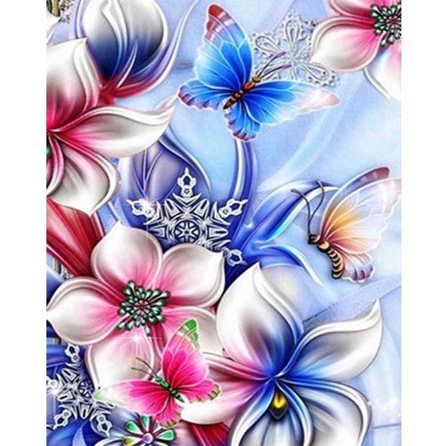 Virágok négyzet alakú kreatív gyémánt kirakó