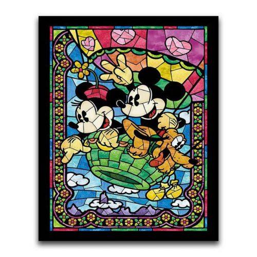 Mickey és Minnie kör alakú gyémántszemes kirakó