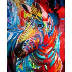 Zebra festés és gyémántszemes kreatív 40x50 cm-es hibrid kép