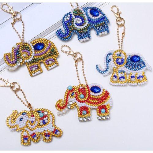 Indiai elefánt gyémántszemes kirakó kulcstartók