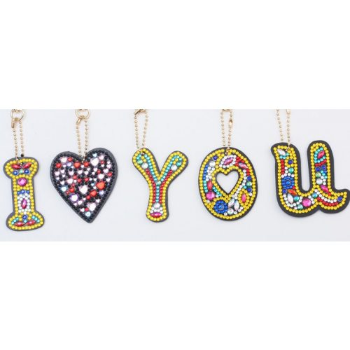 I Love You gyémántszemes kirakó kulcstartó