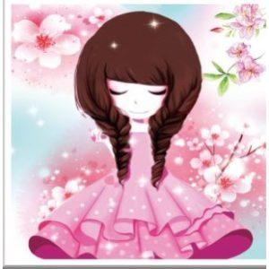 Rózsaszín ruhás lány gyémántszemes kirakó gyerekeknek kerettel