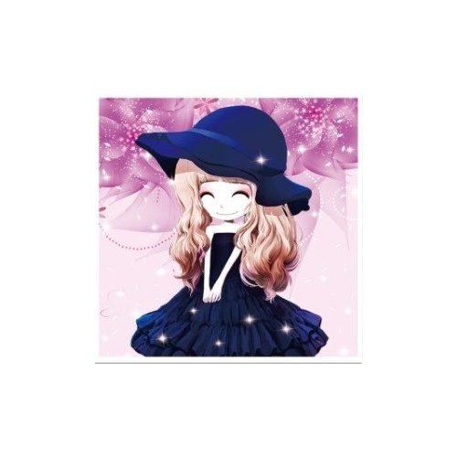 Kék kalapos lány gyémántszemes kirakó gyerekeknek