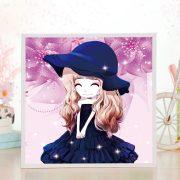 Kék kalapos lány gyémántszemes kirakó gyerekeknek kerettel