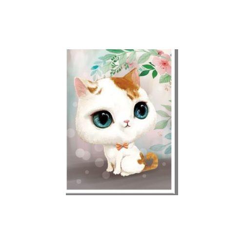 Nagy szemű cica gyémántszemes kirakó gyerekeknek kerettel