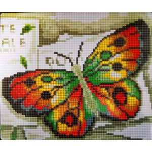 Zöld sárga pillangó gyémántszemes kirakó gyermekeknek