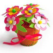 Virágcserép virágokkal Kreatív filc alapanyagú