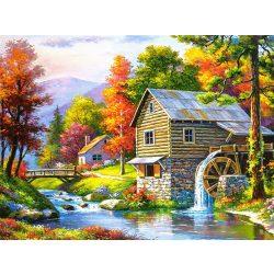 Ház malommal festés számok alapján kreatív készlet keret nélkül 40x50