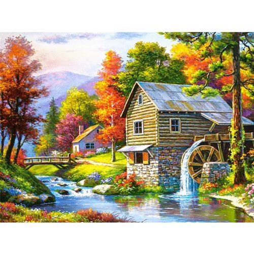 Ház malommal festés számok alapján kreatív készlet kerettel 40x50