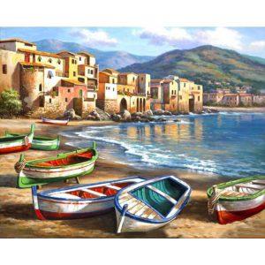 Csónakok festés számok alapján kreatív készlet kerettel