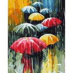 Esernyők festés számok alapján kreatív készlet kerettel