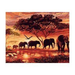 Elefántok a naplementébe festés számok alapján kreatív készlet kerettel