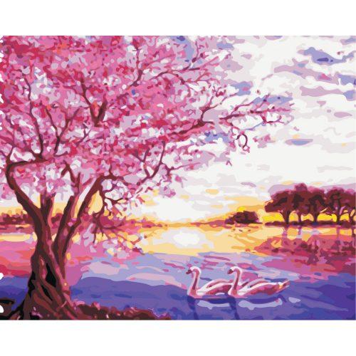 Tavaszi napfelkelte festés számok alapján kreatív készlet