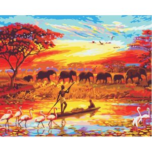 Afrika festés számok alapján kreatív készlet kerettel