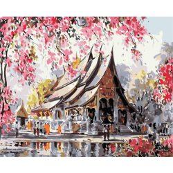Japán ház festés számok alapján kreatív készlet kerettel