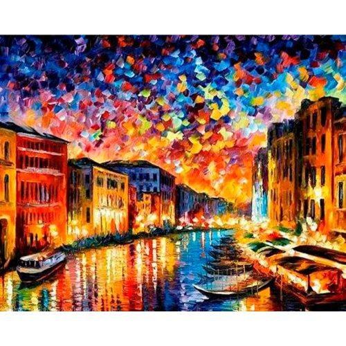 Színes Velence festés számok alapján kreatív készlet kerettel