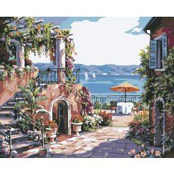 Ház a parton festés számok alapján kreatív készlet kerettel