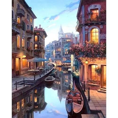 Velence festés számok alapján kreatív készlet kerettel 40×50