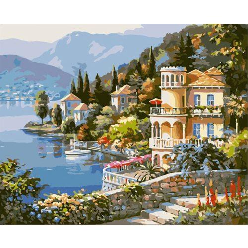 Kisváros a hegyoldalban festés számok alapján kreatív készlet