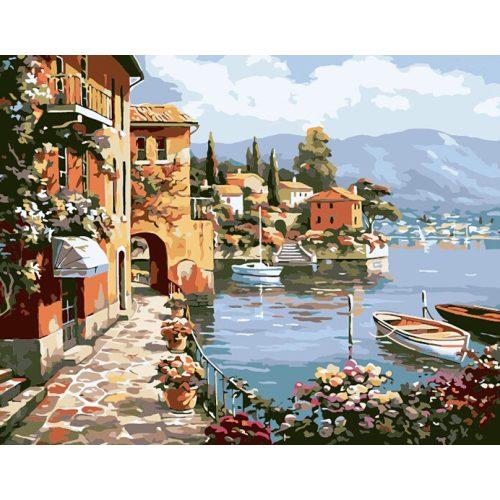 Város a tó partján festés számok alapján kreatív készlet