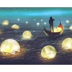 Hold tenger festés számok alapján kreatív készlet kerettel 40×50