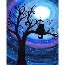 Fekete macska festés számok alapján kreatív készlet kerettel 40x50