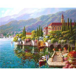 Nyugalom a tóparton festés számok alapján kreatív készlet keret nélkül 40x50
