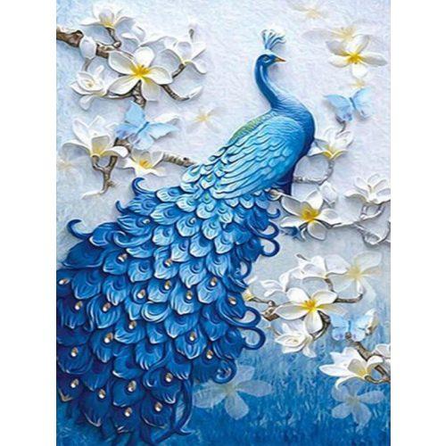 Kék páva festés számok alapján kreatív készlet kerettel 40×50