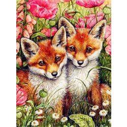 Kis rókák festés számok alapján kreatív készlet kerettel 40×50