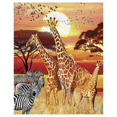 Zsiráfok festés számok alapján kreatív készlet kerettel 40x50