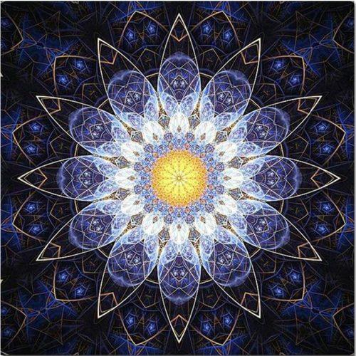 Mandala sötétkék kör minta kör alakú kreatív gyémánt kirakó