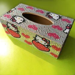Hello Kitty zsebkendőtartó doboz gyémántszemes kirakó