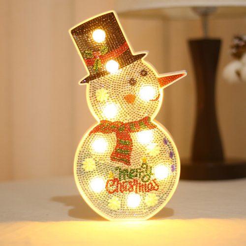Gyémántszemes kirakó hóember kis lámpa