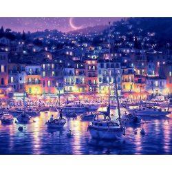 Éjszakai kikötő festés számok alapján kreatív készlet kerettel