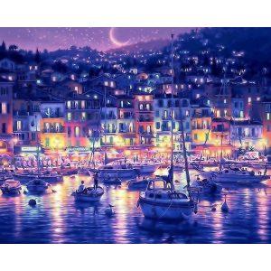 Éjszakai kikötő festés számok alapján kreatív készlet